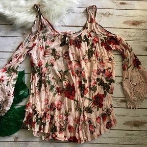 Tops - Blush Floral Lace Boho Tunic
